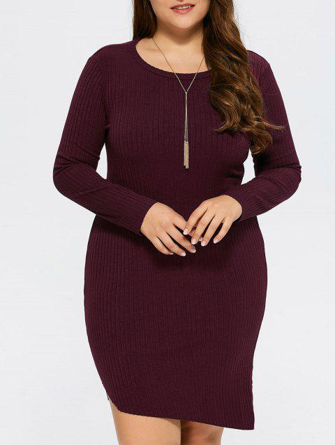 9eedecda32a 17% OFF  2019 Plus Size Bodycon Ribbed Sweater Dress In WINE RED XL ...