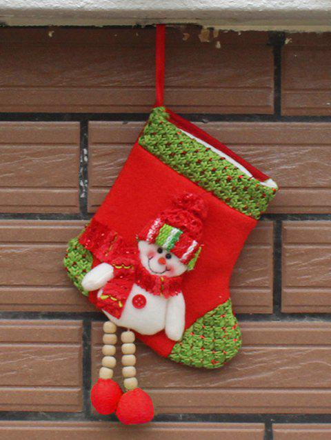 Christmas Decor Snowman Hanging Stocking Present Bag - WHITE