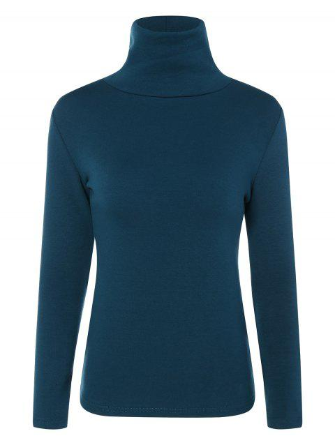 Turtle Neck Long Sleeve Fleeced T-Shirt - PEACOCK BLUE M