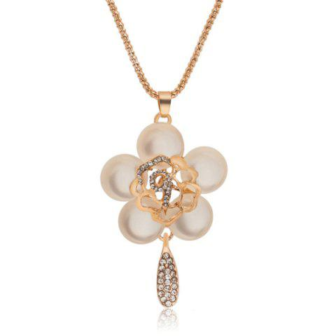 Strass Faux Gem Floral Pendentif Pull Chain - Or