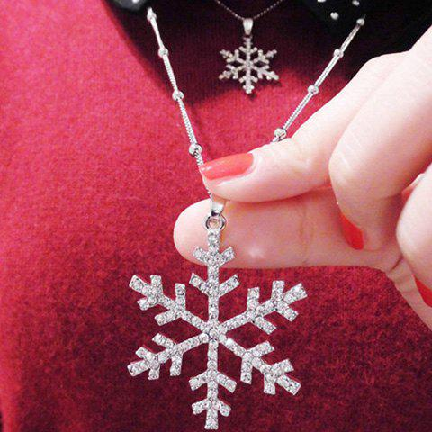 Strass Noël Layered Snowflake Pull Chain - Argent
