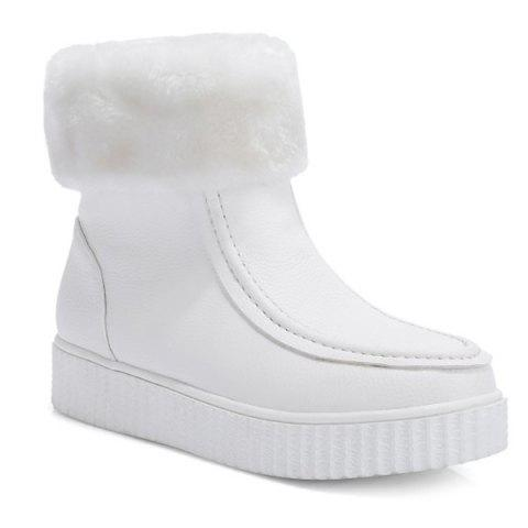Stitching PU Leather Platform Snow Boots - WHITE 39