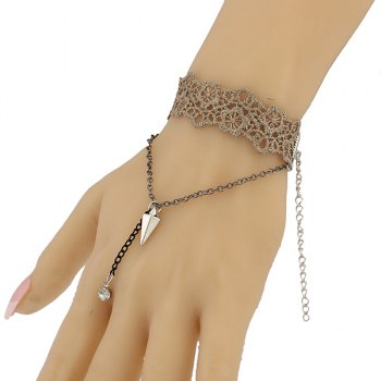 Floral Triangle Hollow Out Bracelet - BROWN
