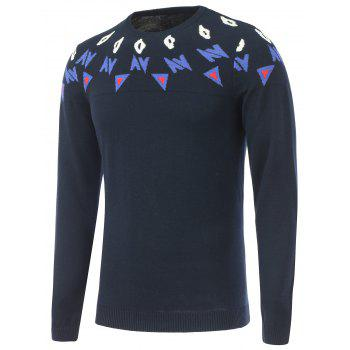 Crew Neck Long Sleeves Graphic Sweater