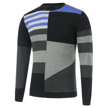 Long Sleeve Contrast Color Sweater