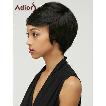 Oblique Bang Adiors Shaggy Straight Short Synthetic Wig - BLACK