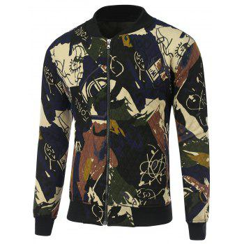 Zip Up Abstract Print Quilted Jacket