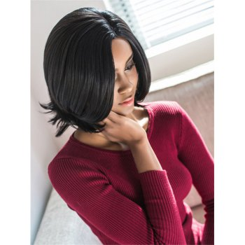 Vogue Medium Side Parting Straight Black Synthetic Hair Wig For Women - BLACK