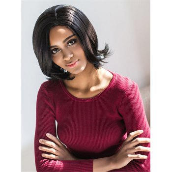 Vogue Medium Side Parting Straight Black Synthetic Hair Wig For Women