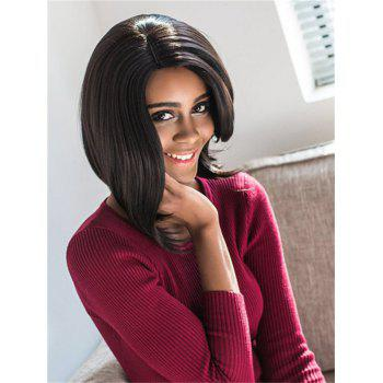 Bob Style Straight Synthetic Stylish Black Medium Wig For Women