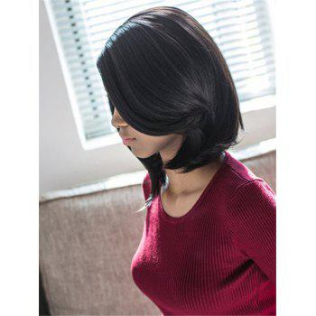 Bob Style Straight Synthetic Stylish Black Medium Wig For Women - BLACK
