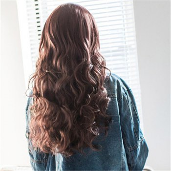 Fluffy Wave Middle Part Charming Brown Mixed Synthetic Wig For Women - BLACK/BROWN