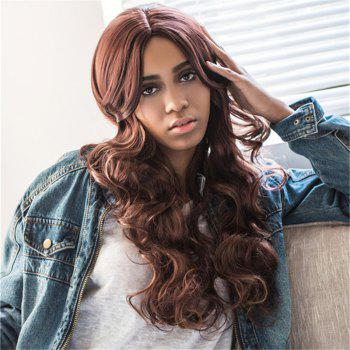 Fluffy Wave Middle Part Charming Brown Mixed Synthetic Wig For Women - BLACK AND BROWN BLACK/BROWN