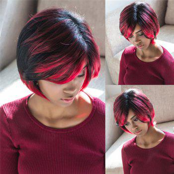 Fluffy Straight Black Red Mixed Trendy Side Bang Synthetic Short Wig For Women