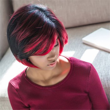 Fluffy Straight Black Red Mixed Trendy Side Bang Synthetic Short Wig For Women - COLORMIX