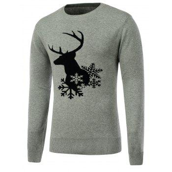 Crew Neck Snowflake Reindeer Christmas Sweater