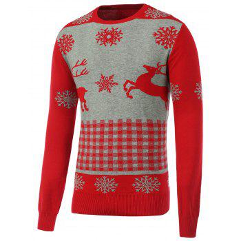 Crew Neck Rib Hem Christmas Sweater