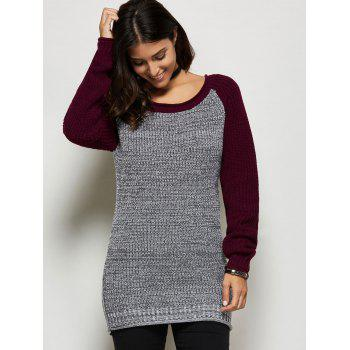 Raglan Sleeve Color Block Longline Sweater