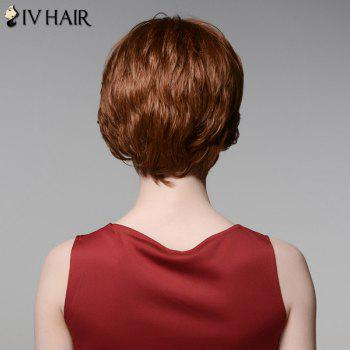 Short Side Bang Exquisite Straight Siv Hair Real Natural Hair Wig - AUBURN BROWN