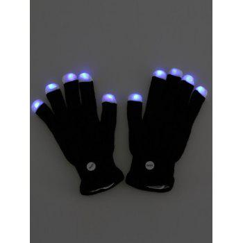 Colorful Flashing Fingertip LED Light Gloves Party Supplies - BLACK