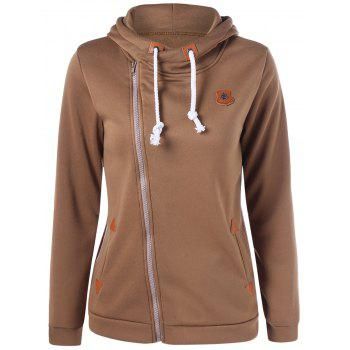 Asymmetrical Zipper Patched Hoodie