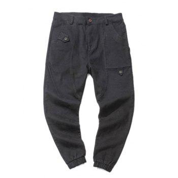 Low Slung Crotch Design Zipper Fly Beam Feet Jogger Pants