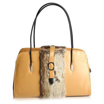 Buckle Color Block Faux Fur Shoulder Bag