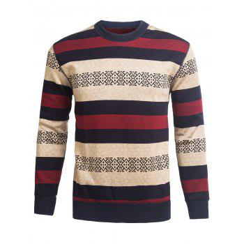 Stripe and Graphic Crew Neck Knitting Sweater