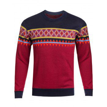 Ethnic Style Graphic Crew Neck Knitting Sweater