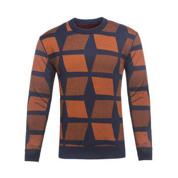 Color Block Geometric Crew Neck Knitting Sweater