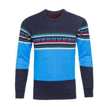 Ethnic Style Graphic Color Block Crew Neck Knitting Sweater