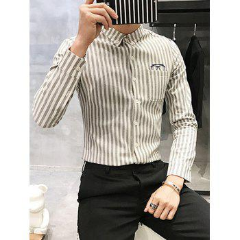 Vertical Stripe Turndown Collar Glasses Embroidered Flocking Shirt