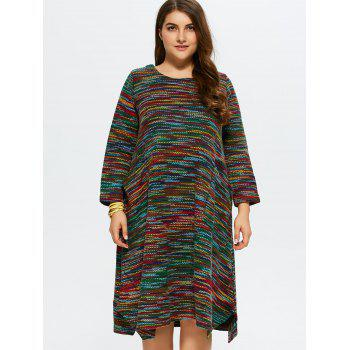 Plus Size Espace Dyed Sweater Dress - Vert 3XL