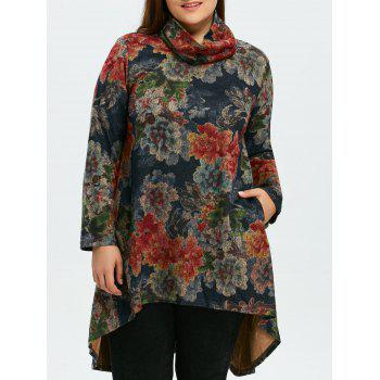 Plus Size Asymmetrical Floral Print Dress