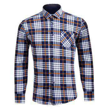 Turndown Collar Flocking Tartan Pocket Shirt
