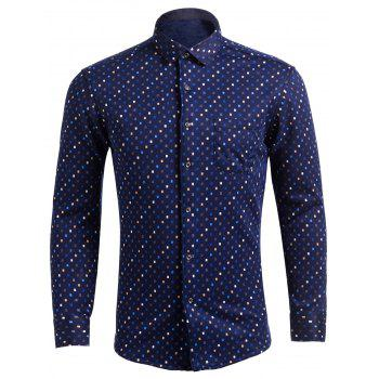 Turndown Collar Flocking Colorful Diamonds Pocket Shirt