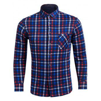 Turndown Collar Flocking Color Block Plaid Pattern Pocket Shirt