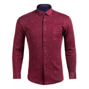 Turndown Collar Flocking Cross Pattern Pocket Shirt