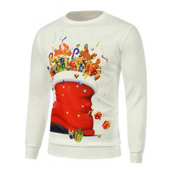 Crew Neck Cartoon Print Christmas Sweatshirt