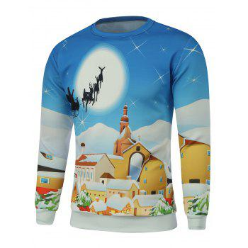 Christmas Crew Neck Cartoon Print Sweatshirt