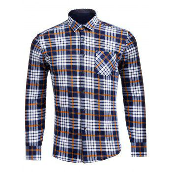 Long Sleeve Flocking Checkered Pocket Shirt