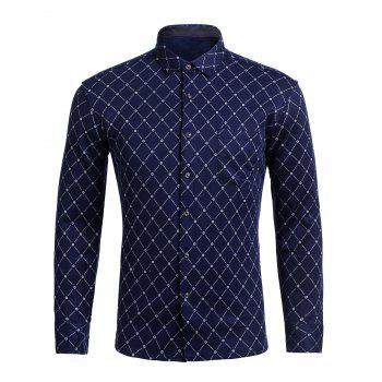 Turndown Collar Rhombus Pattern Pocket Shirt