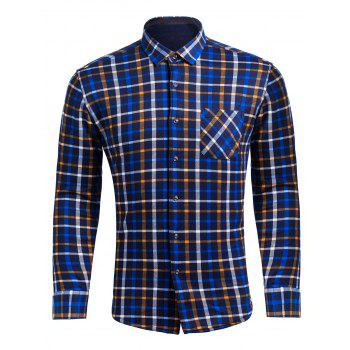 Turndown Collar Checked Pocket Flocking Shirt