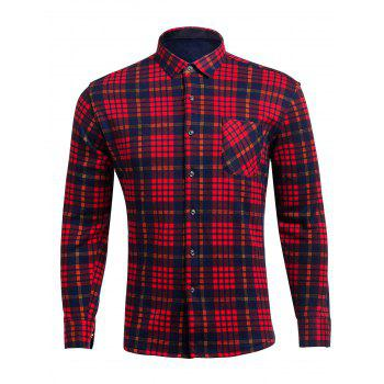 Turndown Collar Plaid Pocket Flocking Shirt