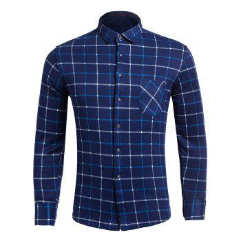Flocking Long Sleeve Checkered Pocket Shirt