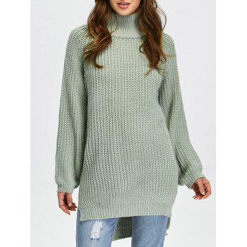 Long High Low Slit Chunky Sweater