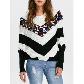 Chervon Sequined Dolman Sleeve Sweater