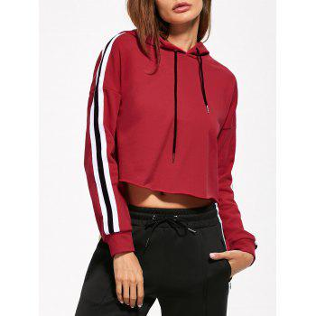 Cropped Drop Shoulder Striped Hoodie