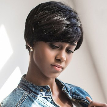 Capless Short Side Bang Straight Synthetic Wig