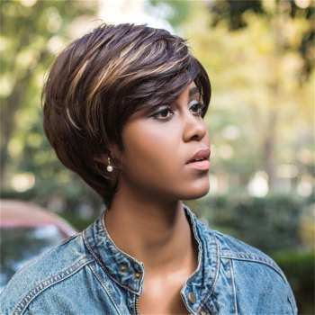 Capless Color Mixed Short Side Bang Straight Synthetic Wig - COLORMIX